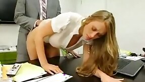 Secretary seduces boss apart from impersonation her aggravation and boobs